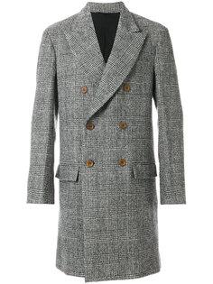 двубортное пальто с узором в ломаную клетку Ermanno Scervino