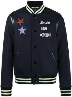 куртка бомбер с нашивками Valentino