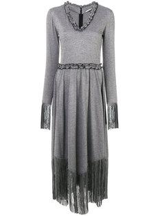 удлиненное платье с бахромой Marco De Vincenzo