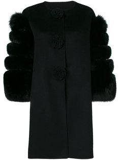 пальто с рукавами из меха Ermanno Scervino