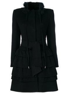пальто с поясом и оборками Ermanno Scervino