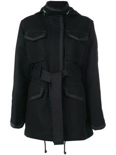 пальто свободного кроя с поясом  Sacai