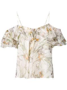 топ с открытыми плечами с оборками и цветочным принтом Alexander McQueen