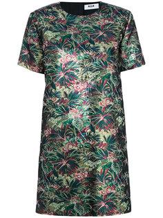 платье с круглым вырезом и цветочным узором  MSGM