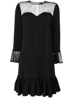 платье с оборками и прозрачными деталями Just Cavalli