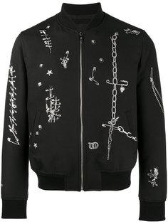куртка-бомбер с узором из скрепок Alexander McQueen