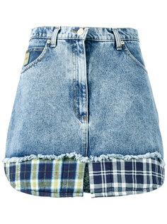 джинсовая мини-юбка с принтом в клетку  Natasha Zinko