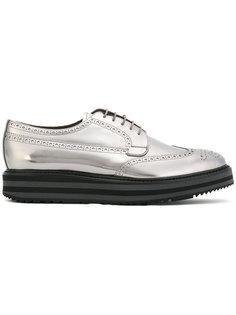 металлизированные ботинки на шнуровке Prada