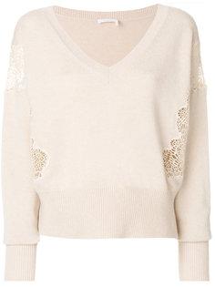 свитер с V-образным вырезом и кружевными деталями Chloé