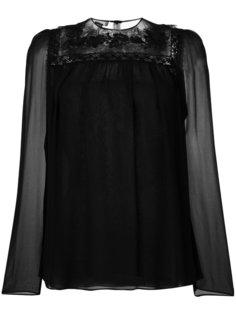 полупрозрачная блузка с кружевной отделкой Giambattista Valli