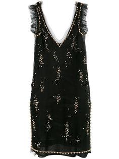 платье мини с отделкой пайетками  MSGM