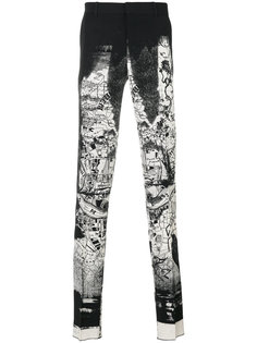 брюки с черно-белым рисунком Alexander McQueen