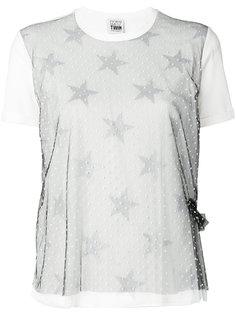 футболка со звездами и прозрачной панелью в горох Twin-Set