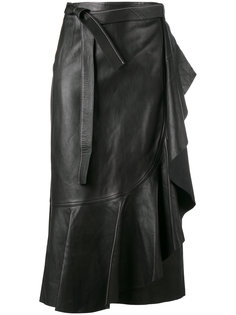 кожаная юбка с запахом Helmut Lang