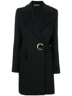 пальто с ремнем с люверсами Balmain