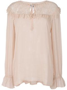 полупрозрачная блузка с кружевной панелью Twin-Set