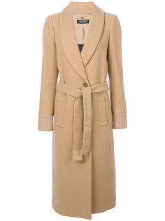 длинное пальто с манжетами в рубчик Twin-Set
