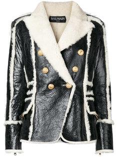 двубортная куртка с подкладкой из овечьей шерсти Balmain