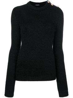 свитер с ребристой фактурой с пуговицами на плече Balmain