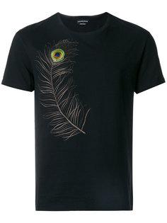 футболка с вышитым пером павлина Alexander McQueen