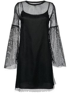 расклешенное платье с сетчатой отделкой Mm6 Maison Margiela