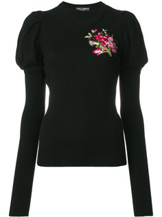 свитер с цветочной вышивкой Dolce & Gabbana