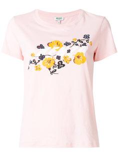 футболка с фирменным принтом с цветами Kenzo