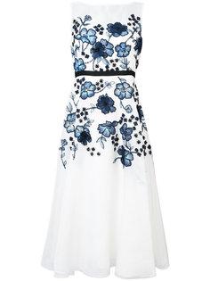 расклешенное платье с цветочной аппликацией Lela Rose