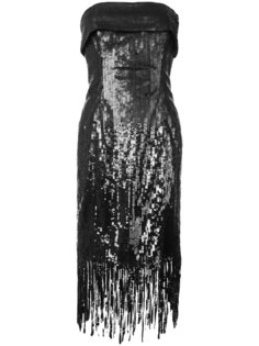 платье с бахромой и пайетками Oscar de la Renta
