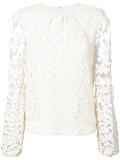 dot pattern transparent sleeve blouse Co