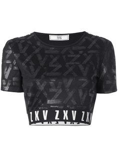 укороченная футболка с узором в тон Versus