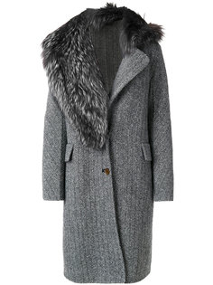 пальто с меховой отделкой Ermanno Scervino