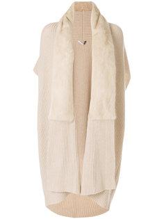 пальто-кардиган с отделкой мехом Agnona