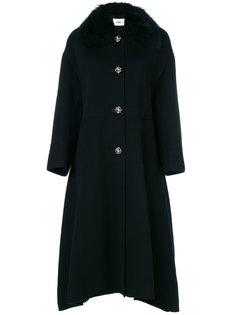 пальто свободного кроя с меховой отделкой Fendi
