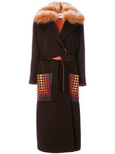 однобортное пальто Fendi