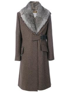 пальто с отделкой из меха Maison Margiela