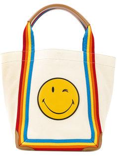 сумка-туот с радужной отделкой Smiley Anya Hindmarch