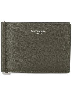 кошелек из кожи зернистой фактуры с зажимом для купюр Saint Laurent