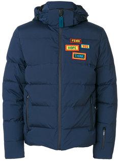 пуховая стеганая куртка с заплатками Fendi