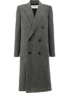 твидовое двубортное пальто Saint Laurent