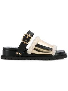 сандалии с меховой оторочкой Sacai
