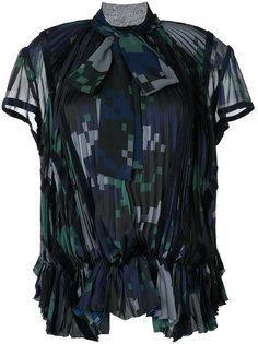 плиссированная блузка с геометрическим узором Sacai