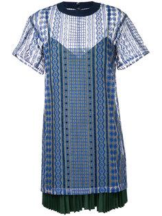 многослойное платье-футболка с вышивкой Sacai