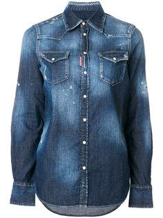 джинсовая рубашка с эффектом потертости Dsquared2