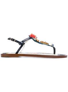 сандалии с цветочным украшением Dolce & Gabbana