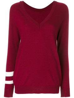 свитер с V-образным вырезом и рукавами с полосками Erika Cavallini