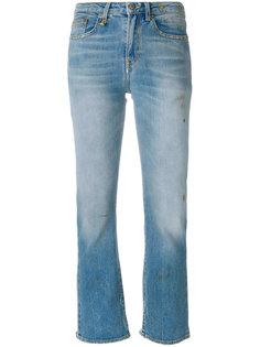 укороченные джинсы с потертой отделкой R13