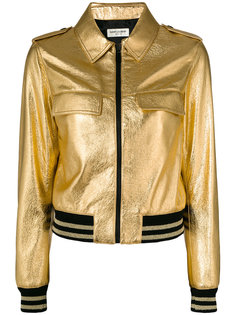 металлизированная куртка с эластичными вставками Saint Laurent