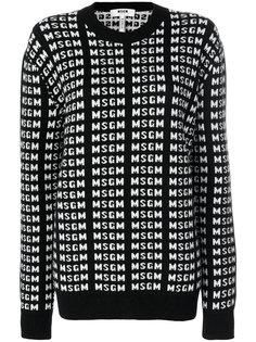 """свитер с логотипом вязки """"интарсия""""  MSGM"""