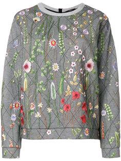 стеганая толстовка с цветочной вышивкой  Odeeh